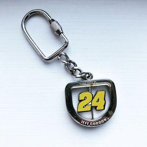 Silver & yellow Jeff Gordon #24 NASCAR keychain